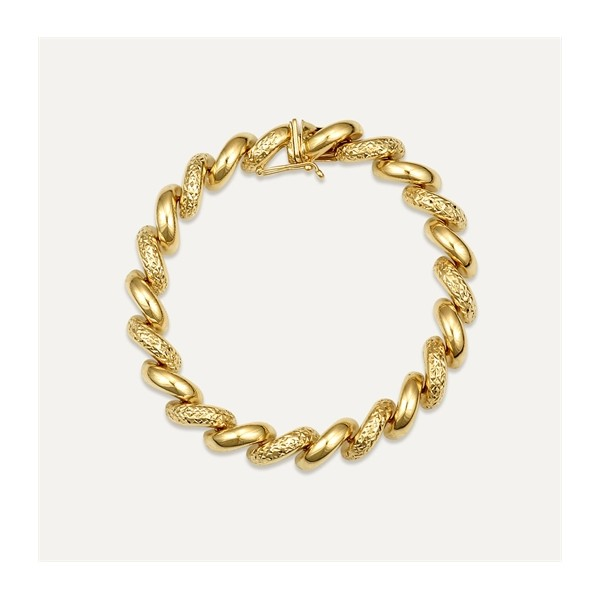 gold link bracelet diamond thick ct rose mens inches